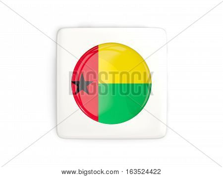 Square Button With Round Flag Of Guinea Bissau