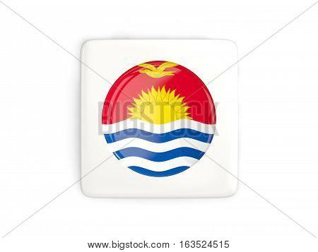 Square Button With Round Flag Of Kiribati