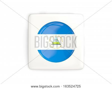 Square Button With Round Flag Of Nicaragua