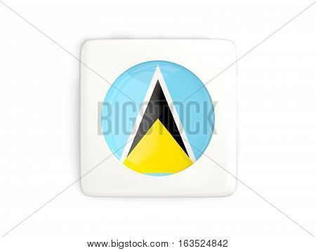 Square Button With Round Flag Of Saint Lucia