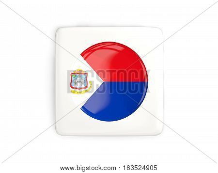Square Button With Round Flag Of Sint Maarten