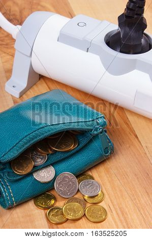 Electrical Power Strip With Connected Plug And Polish Currency Money, Energy Costs