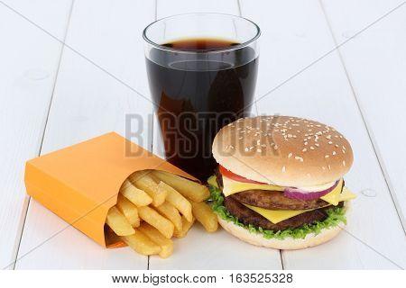 Double Cheeseburger Hamburger And Fries Menu Meal Combo Cola