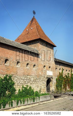 Fortress wall (16-17 centuries) Hlyniany Gate Bernardine monastery in ancient Ukrainian city of Lviv