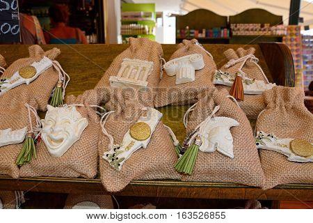 Cretan hessian gift bags in a tourist shop Bali Crete Greece Europe.