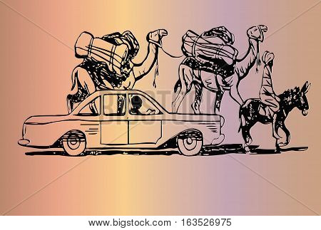 eastern city life sketch of a moving car, a man sitting on a donkey and two camels with luggage on the humps