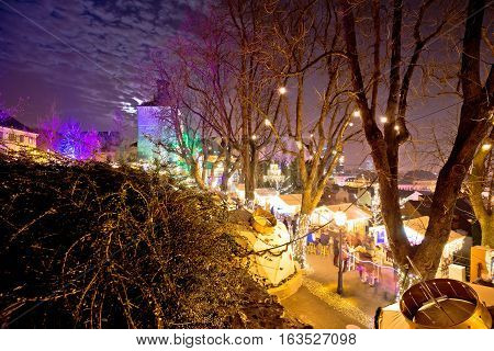 Zagreb Upper Town Christmas Market Evening View