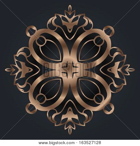 Abstract golden beautiful floral ornament Oriental pattern with damask arabesque and floral elements