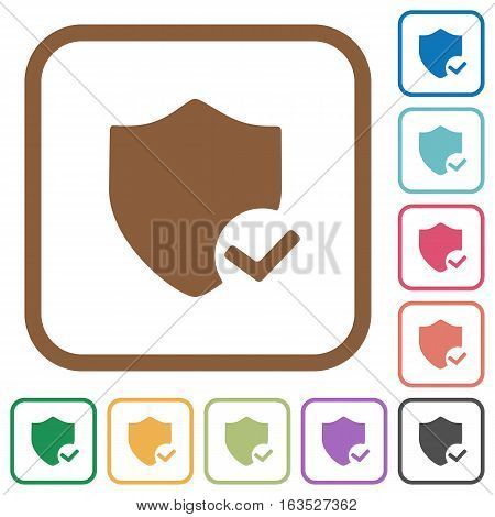 Protection ok simple icons in color rounded square frames on white background