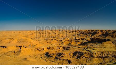 Panorama of Buttes at the dried shore of Razazza lake aka Milh lake or Sea of Salt Iraq