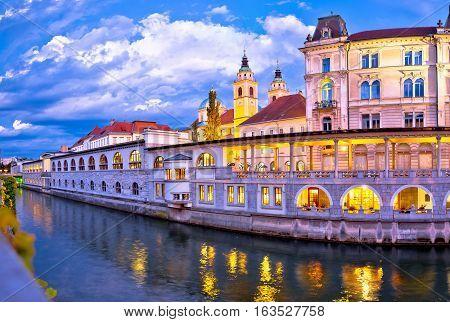 Ljubljana Riverfront Architecture Evening View