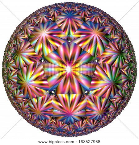 fractal circular colored hyperbolic tessellation shape on white
