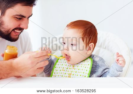happy father feeding cute redhead baby with complementary food