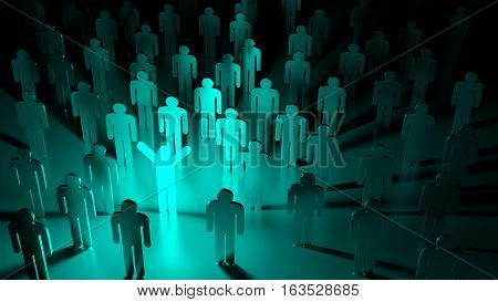 Blue happy glowing man standing in a group of ordinary people individuality concept 3D illustration
