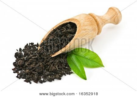black tea with leaf isolated on white background poster