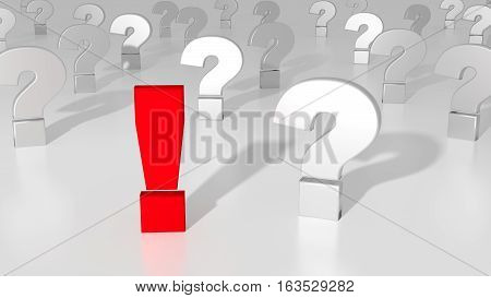 Red exclamation mark standing out from the crowd of white question marks on white solution concept 3D illustration