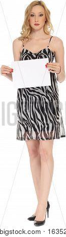 Pretty Woman In Short Dress Holding A Blank Board