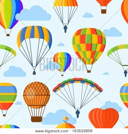 Illustration with different aerostats flat icons cartoon graphic seamless pattern. Travel background