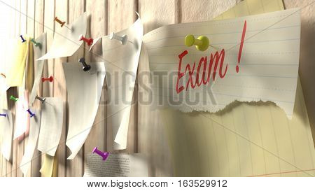 Wall with different notes pinned to it and one paper showing the word exam in red 3D illustration