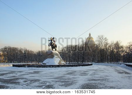 Frosty winter day in Saint Petersburg Senate square