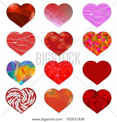 Set of Different Red Hearts. Romantic Symbol of Love.
