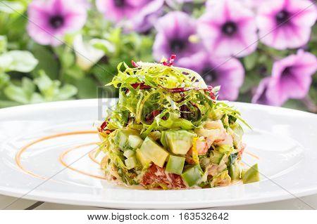 Salad With Avocado Or Cucumber  Shrimp  Crab And Frisée.