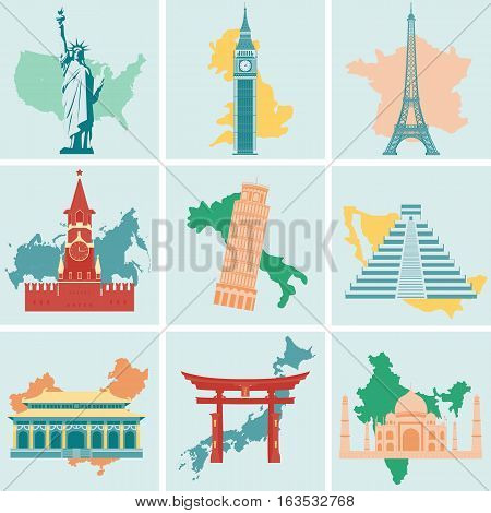 World landmarks flat icon set. Travel and Tourism. Vector illustration