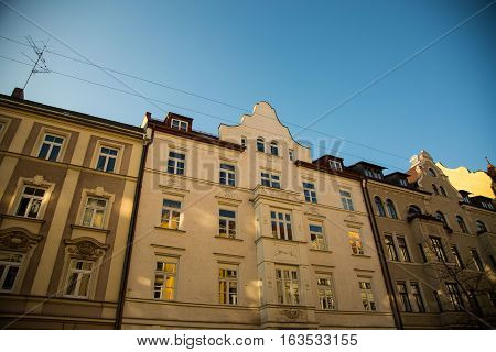 old houses in munich city, bavaria, germany