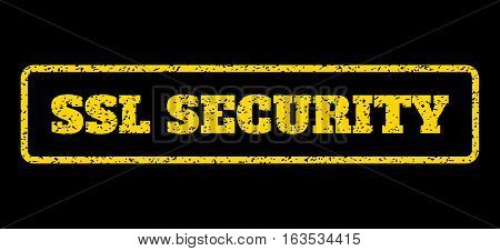 Yellow rubber seal stamp with SSL Security text. Vector tag inside rounded rectangular shape. Grunge design and scratched texture for watermark labels. Horisontal sticker on a blue background.