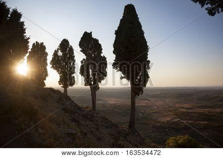 Sunset on the peak. Tarragona province. Spain