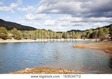 Pena Reservoir Panorama in Teruel province Spain