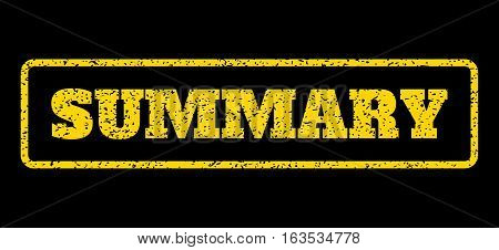 Yellow rubber seal stamp with Summary text. Vector caption inside rounded rectangular frame. Grunge design and scratched texture for watermark labels. Horisontal sticker on a blue background.