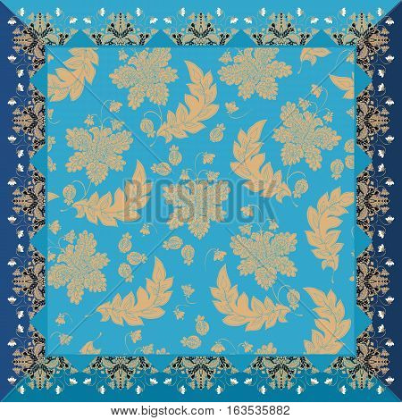 Lovely tablecloth or bandana print with enchanted vintage floral ornament in blue and golden tones. Kerchief.
