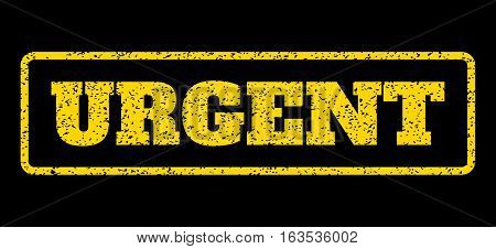 Yellow rubber seal stamp with Urgent text. Vector tag inside rounded rectangular frame. Grunge design and scratched texture for watermark labels. Horisontal sign on a blue background.