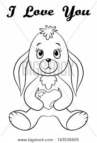 Cartoon Funny Rabbit, Cute Little Bunny, Siting with Valentine Heart in Paws, Holiday Symbol of Love, Black Contour Isolated on White Background. Vector