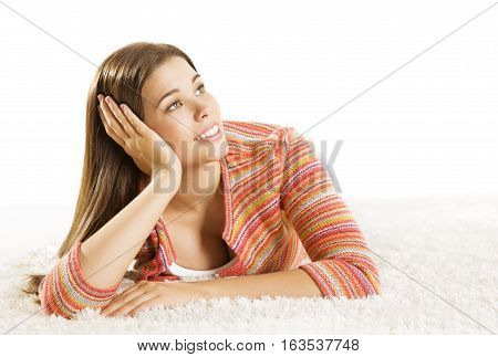 Woman Thinking Young Adult Dreaming Girl Girl Hand Lean Face Looking to Side on White