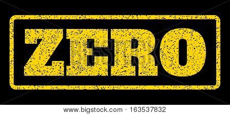 Yellow rubber seal stamp with Zero text. Vector message inside rounded rectangular frame. Grunge design and dirty texture for watermark labels. Horisontal sticker on a blue background.