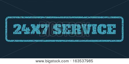 Blue rubber seal stamp with 24X7 Service text. Vector caption inside rounded rectangular shape. Grunge design and unclean texture for watermark labels. Horisontal sticker on a dark blue background.