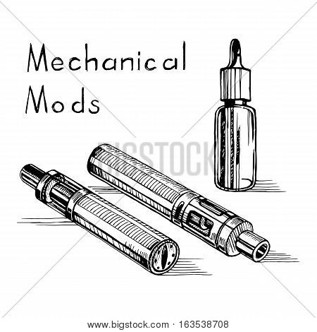Vector sketch of the electronic cigarette. Mechanical modes and a bottle of liquid to fuel. Vape Equipment.