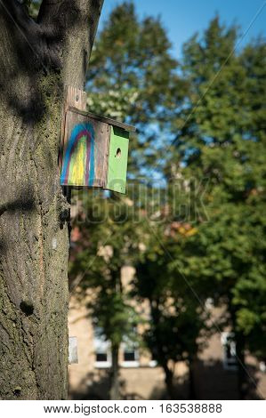 Wooden colorful birds nest hanging on the tree