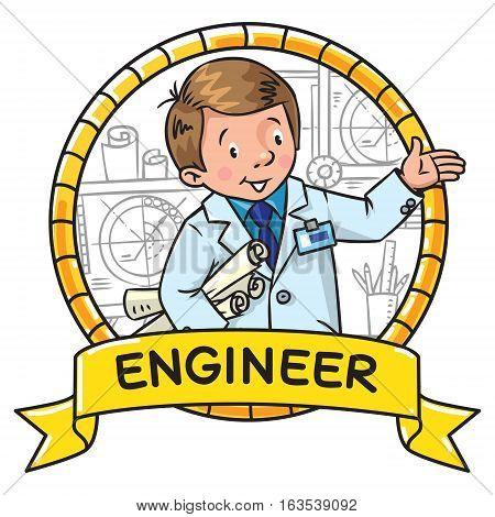Childrens vector illustration of funny engineer or inventor. A man in coat with drawings showing by hand. Profession ABC series. Emblem