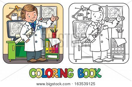 Coloring book of funny engineer or inventor. A man in coat with drawings showing by hand. Profession ABC series. Childrens vector illustration.