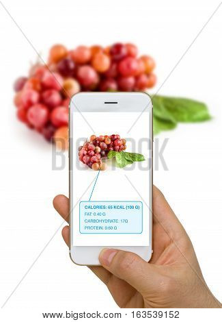 Augmented Reality Or Ar App Showing Nutrition Information Of Food, Grape, On Smart Device Screen