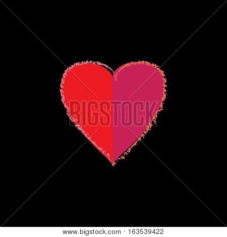 Heart isolated. Red sign on black background. Romantic silhouette symbol linked join love passion and wedding. Colorful mark of valentine day. Design element. Vector illustration