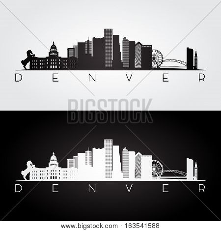 Denver USA skyline and landmarks silhouette black and white design vector illustration.
