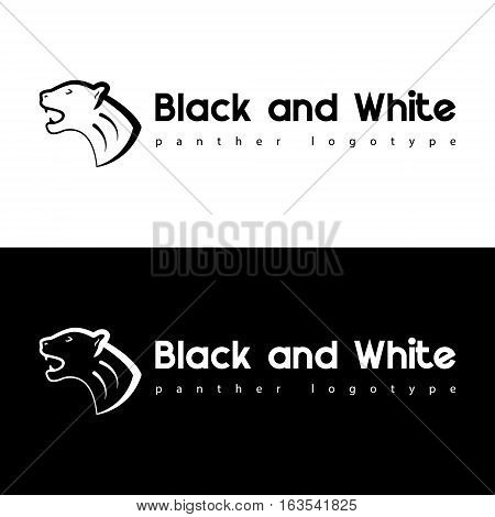 Black and white panther vector animal pet abstract logo template and corporate identity for animal business services.