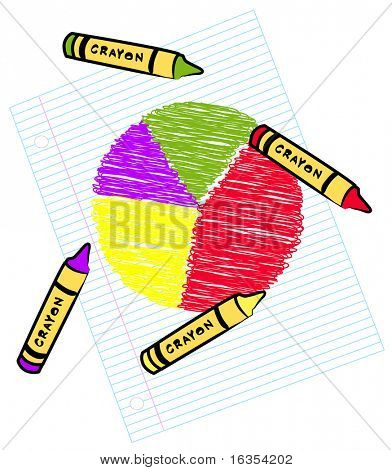 colored circle graph on lined paper - vector