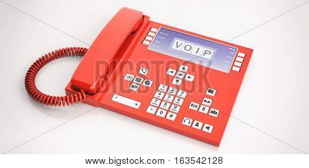 3D Rendering Office Telephone On White Background
