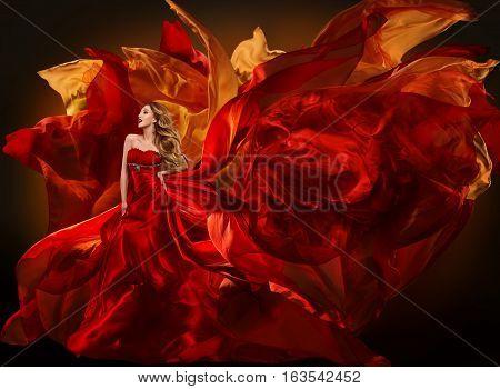 Woman Fashion Dress Flying Red Fabric Beautiful Girl Waving Silk Cloth on Wind