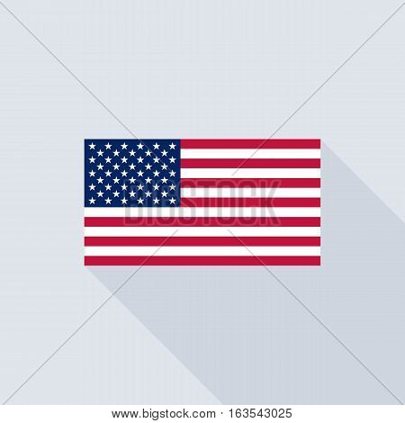 American flag , flat design vector with official proportion